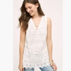 Anthropologie Meadow Rue White Lace-Up Tank NWOT